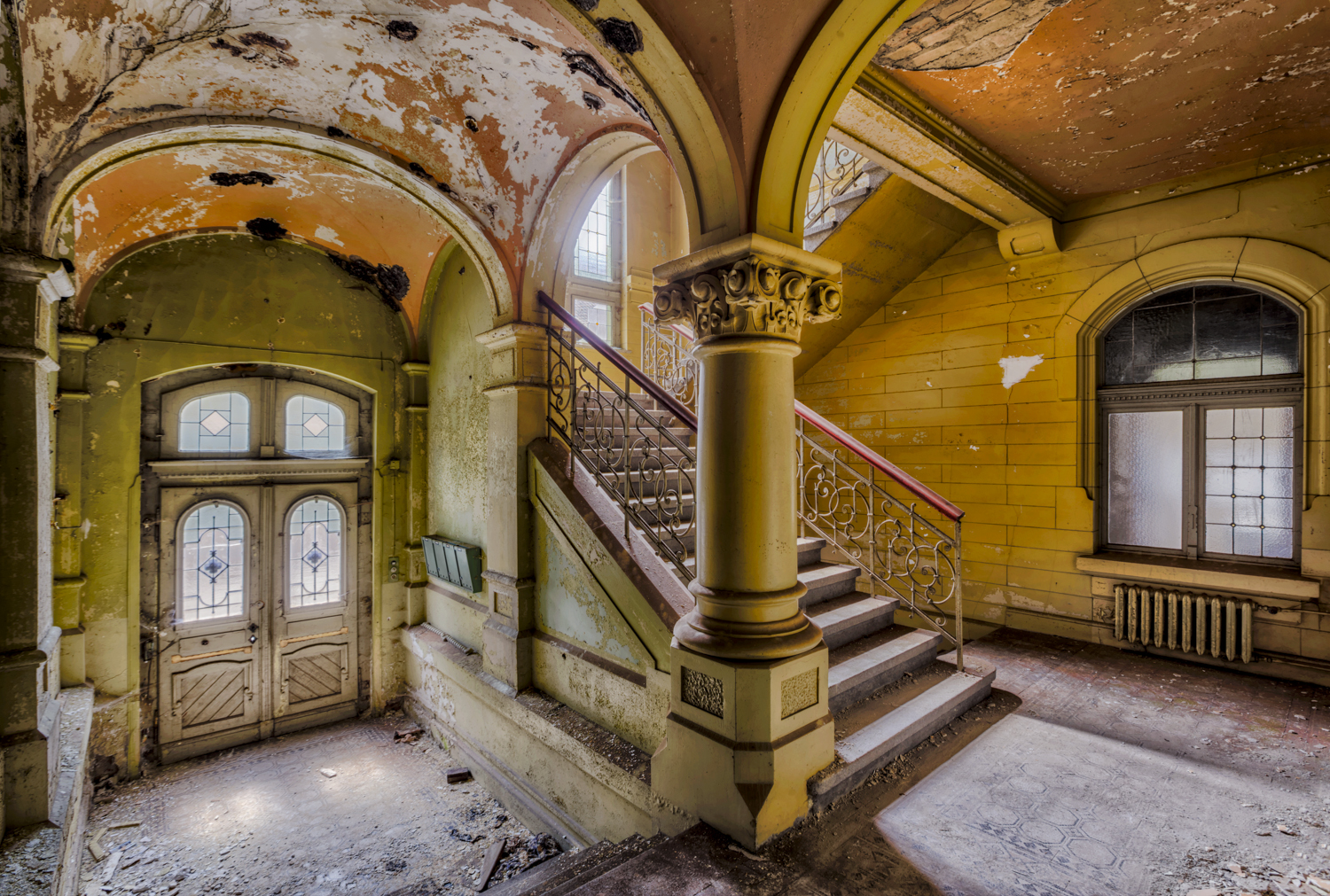 abandoned decay staircase in mansion