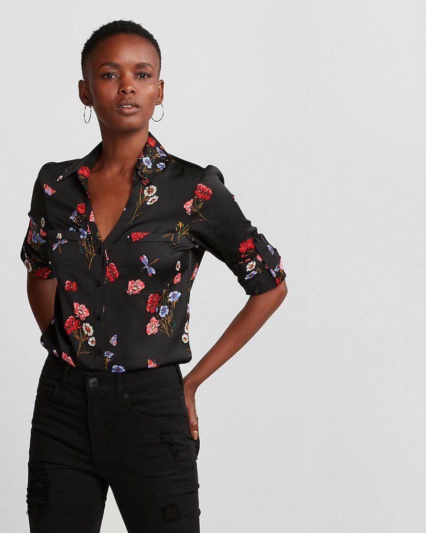 ecaf9342120b Υπάρχει κάτι πιο σικάτο από ένα μαύρο αέρινο πουκάμισο  Ναι! Το ίδιο  πουκάμισο με φλοράλ σχέδια